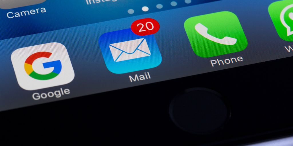 Email application on an iphone